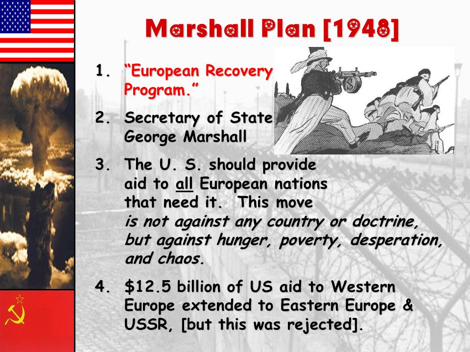 Marshall Plan [1948] European Recovery Program.